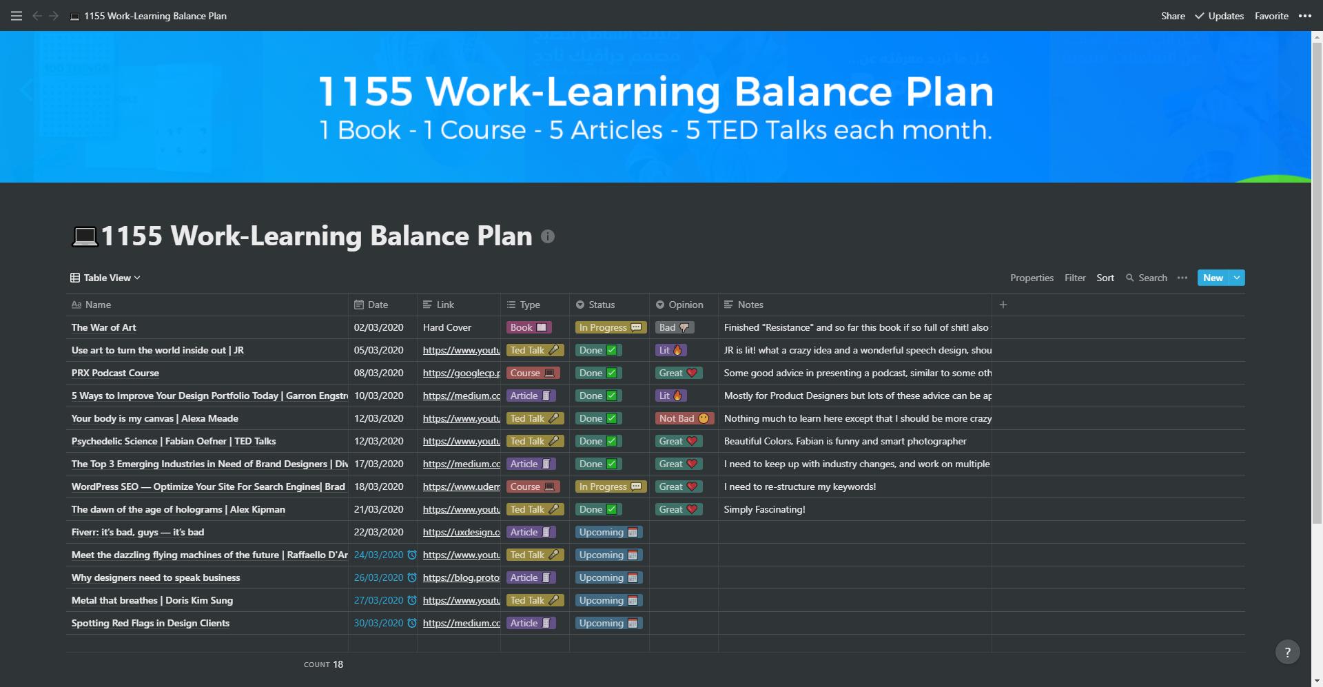 قائمتي لشهر فبراير 2020 - خطة التوازن بين العمل والتعلم 5511